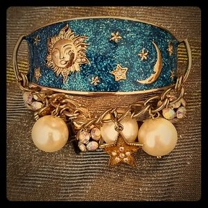 Betsey Johnson space babe gold and blue bangle